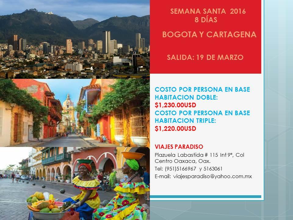 SEMANA SANTA BOGOTA Y CARTAGENA 2016