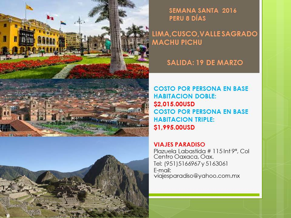 SEMANA SANTA PERU 2016